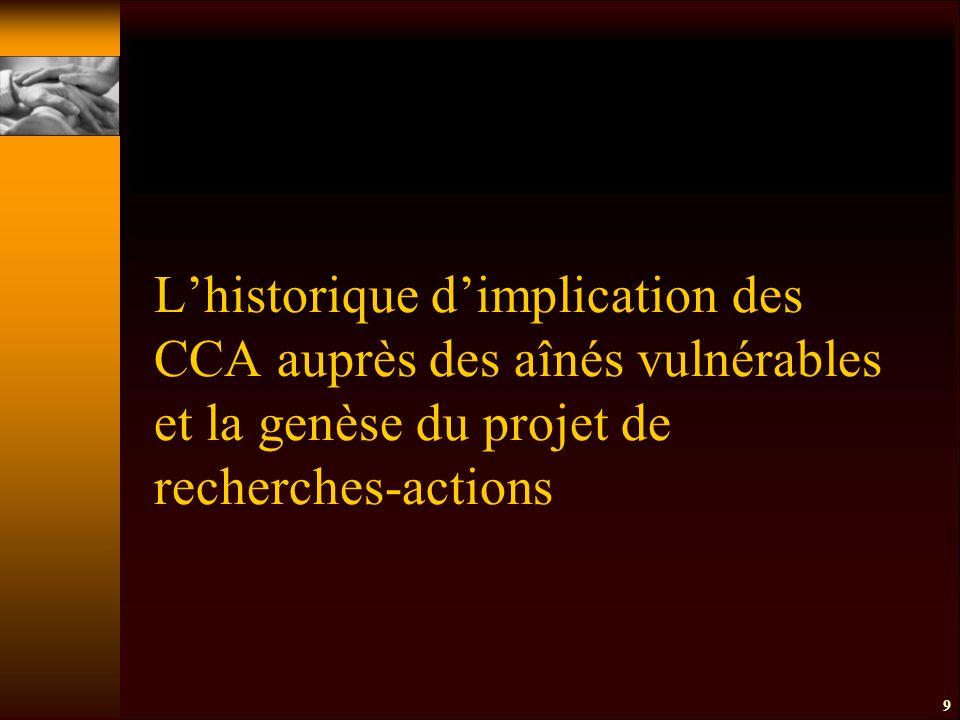 9 L'historique d'implication des CCA auprès des aînés vulnérables et la genèse du projet de recherches-actions