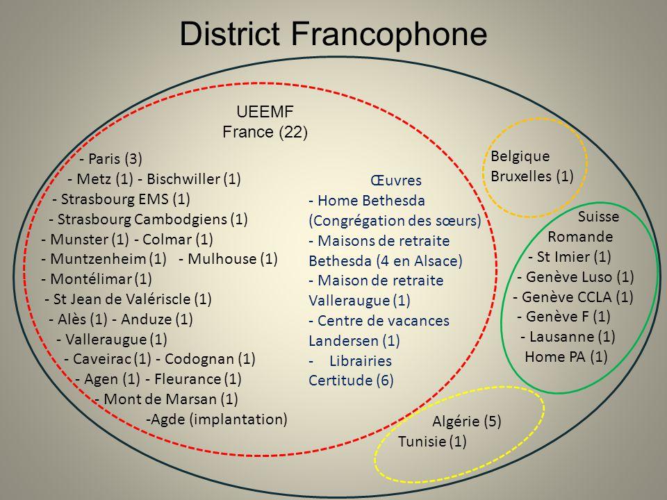 District Francophone UEEMF France (22) - Paris (3) - Metz (1) - Bischwiller (1) - Strasbourg EMS (1) - Strasbourg Cambodgiens (1) - Munster (1) - Colm