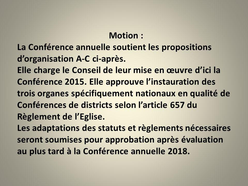Motion : La Conférence annuelle soutient les propositions d'organisation A-C ci-après. Elle charge le Conseil de leur mise en œuvre d'ici la Conférenc