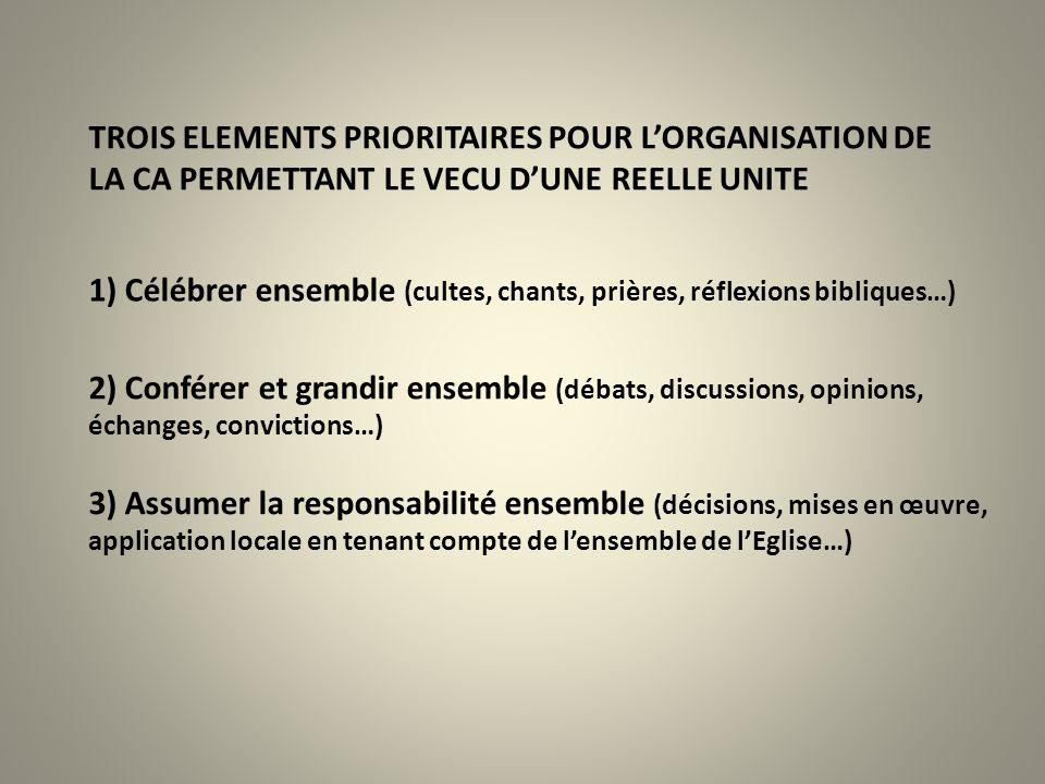 TROIS ELEMENTS PRIORITAIRES POUR L'ORGANISATION DE LA CA PERMETTANT LE VECU D'UNE REELLE UNITE 1) Célébrer ensemble (cultes, chants, prières, réflexio