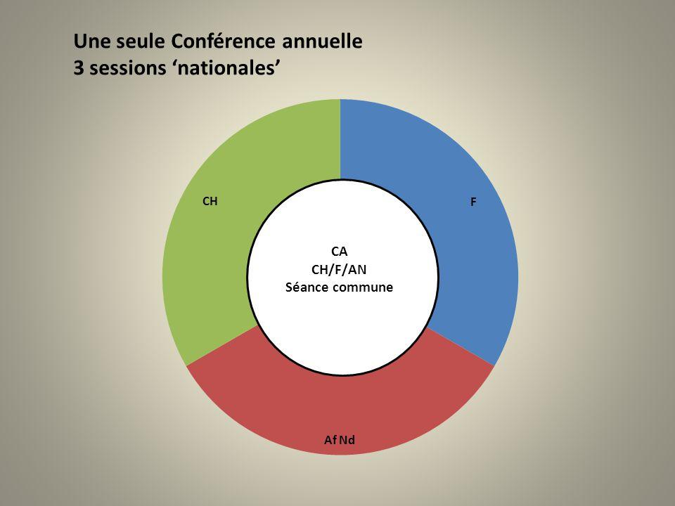 Une seule Conférence annuelle 3 sessions 'nationales'