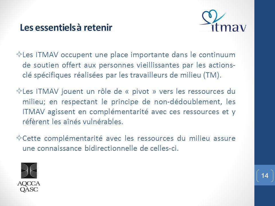 14 Les essentiels à retenir  Les ITMAV occupent une place importante dans le continuum de soutien offert aux personnes vieillissantes par les actions