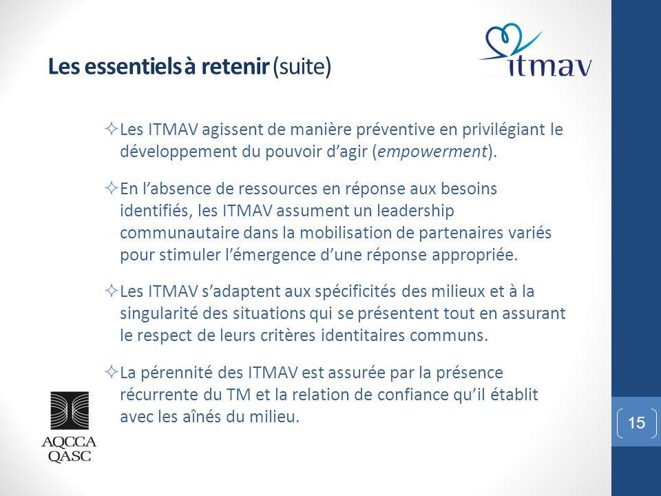 15 Les essentiels à retenir (suite)  Les ITMAV agissent de manière préventive en privilégiant le développement du pouvoir d'agir (empowerment).  En