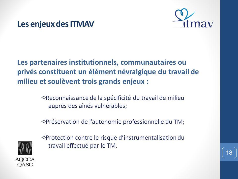 18 Les enjeux des ITMAV Les partenaires institutionnels, communautaires ou privés constituent un élément névralgique du travail de milieu et soulèvent