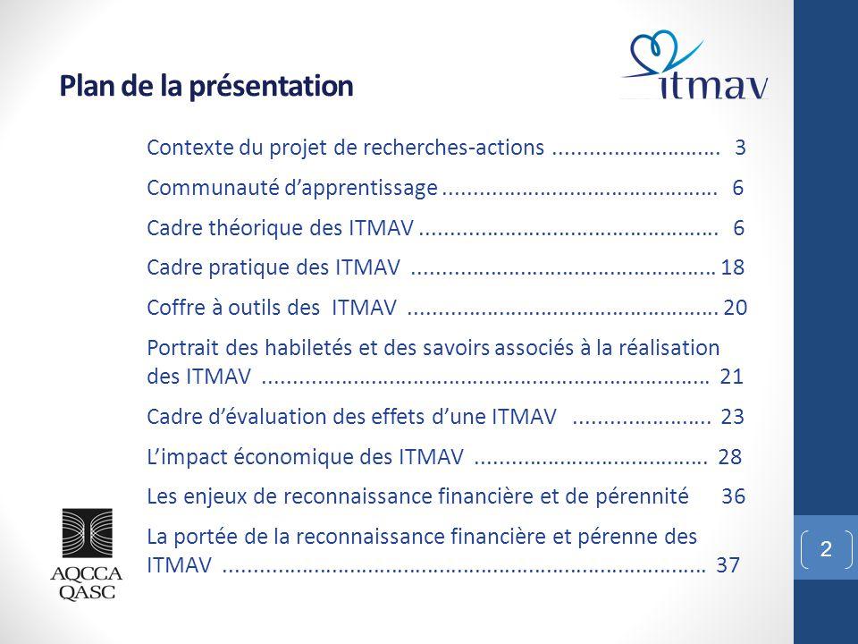 L'impact économique des ITMAV 33 Association québécoise des centres communautaires pour aînés Avril 2013