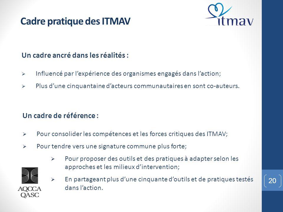 20 Cadre pratique des ITMAV Un cadre ancré dans les réalités :  Influencé par l'expérience des organismes engagés dans l'action;  Plus d'une cinquan