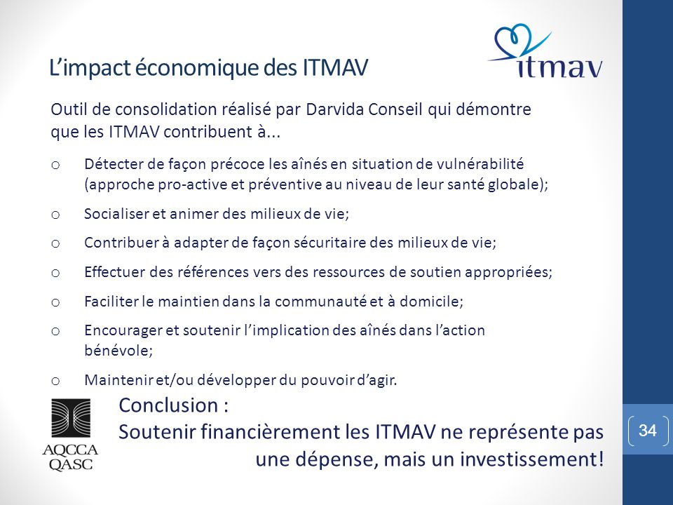 34 L'impact économique des ITMAV Conclusion : Soutenir financièrement les ITMAV ne représente pas une dépense, mais un investissement! Outil de consol