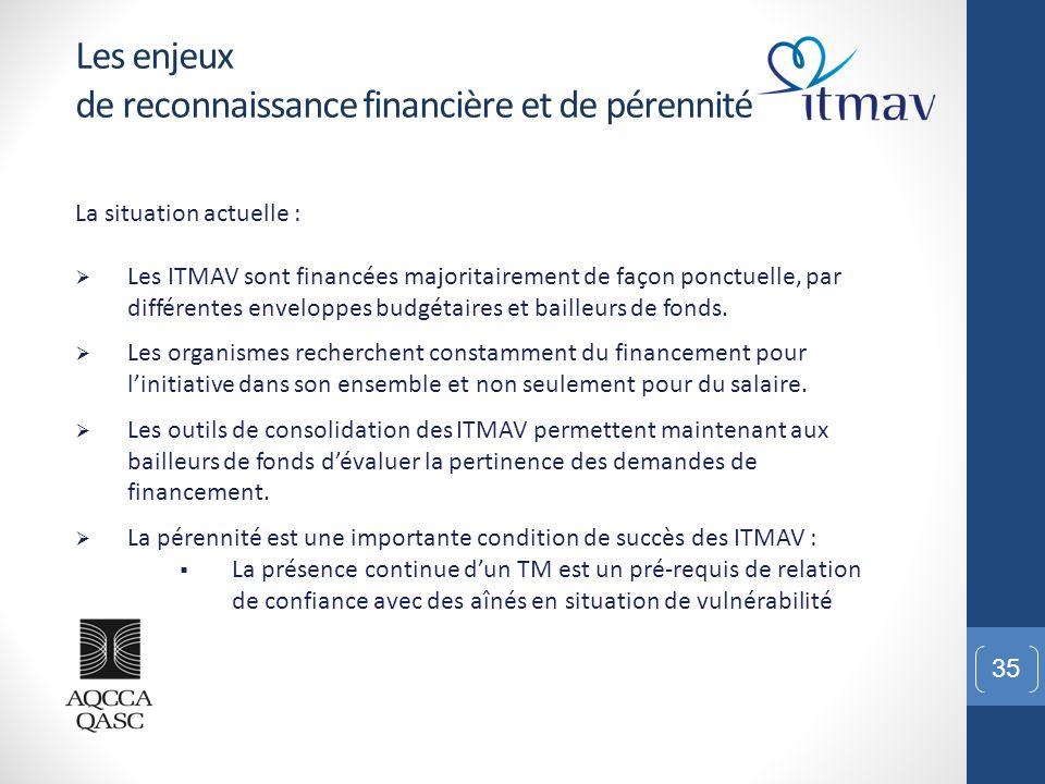 35 Les enjeux de reconnaissance financière et de pérennité La situation actuelle :  Les ITMAV sont financées majoritairement de façon ponctuelle, par