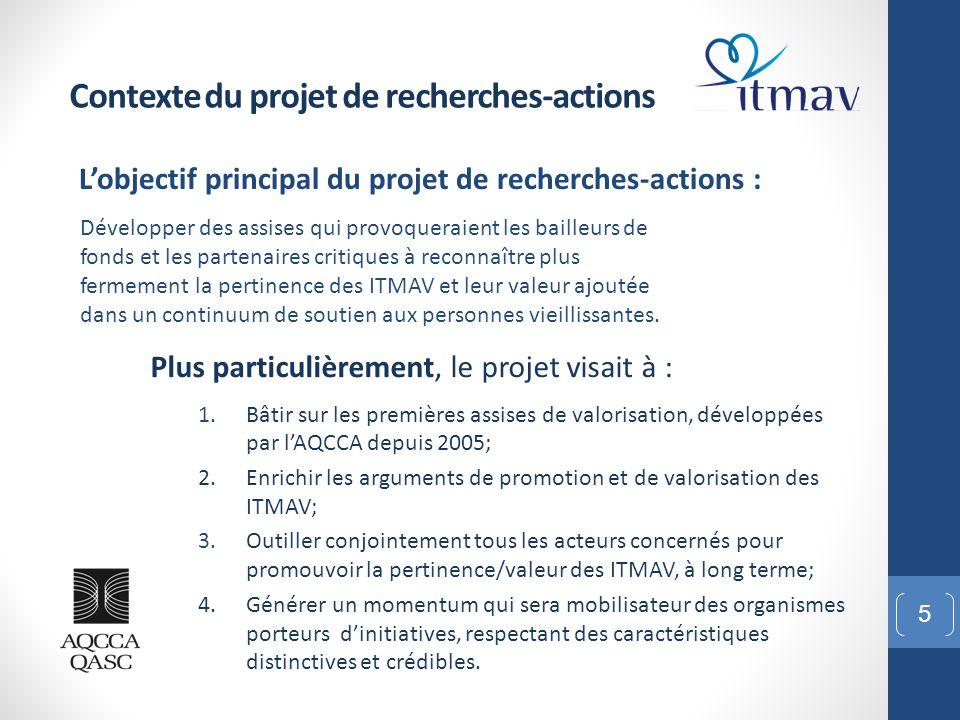 L'objectif principal du projet de recherches-actions : 5 Contexte du projet de recherches-actions Développer des assises qui provoqueraient les baille