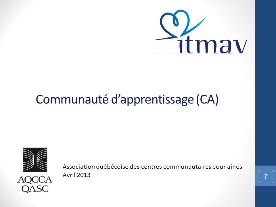 Communauté d'apprentissage (CA) 7 Association québécoise des centres communautaires pour aînés Avril 2013