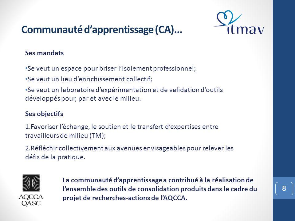 9 Composition de la communauté d'apprentissage (CA) 1.CADG Regroupe des directions d'organismes des régions de Montréal et de Laval 14 organismes communautaires (OC), majoritairement des centres communautaires pour aînés (CCA).