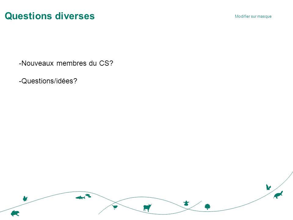Modifier sur masque Questions diverses -Nouveaux membres du CS -Questions/idées