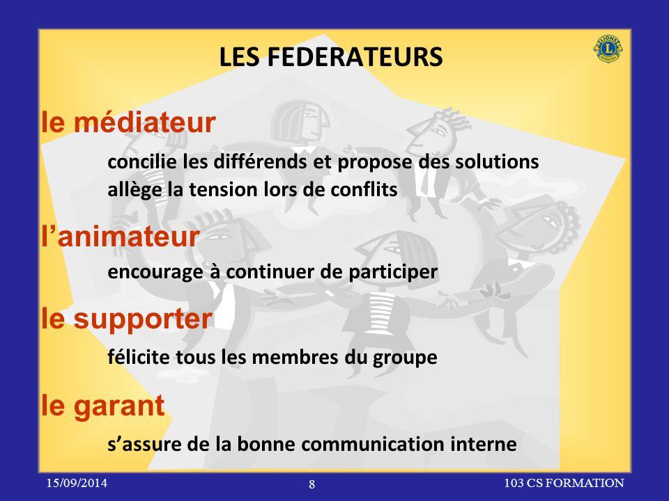 le médiateur concilie les différends et propose des solutions allège la tension lors de conflits l'animateur encourage à continuer de participer le su
