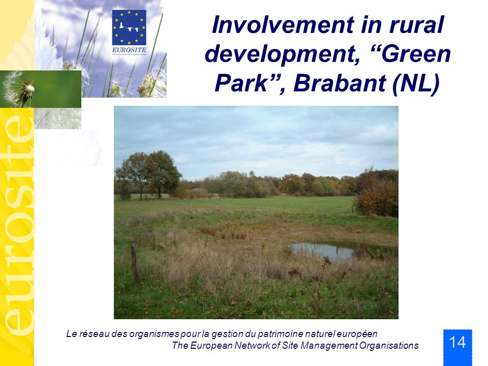 14 Le réseau des organismes pour la gestion du patrimoine naturel européen The European Network of Site Management Organisations Involvement in rural development, Green Park , Brabant (NL)