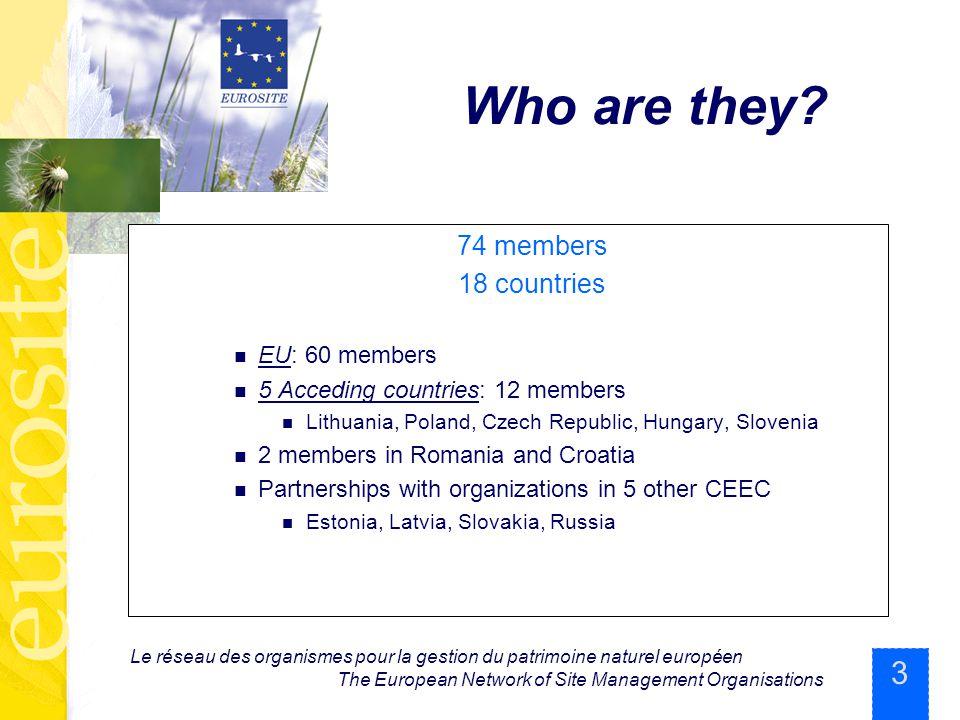 3 Le réseau des organismes pour la gestion du patrimoine naturel européen The European Network of Site Management Organisations Who are they? 74 membe