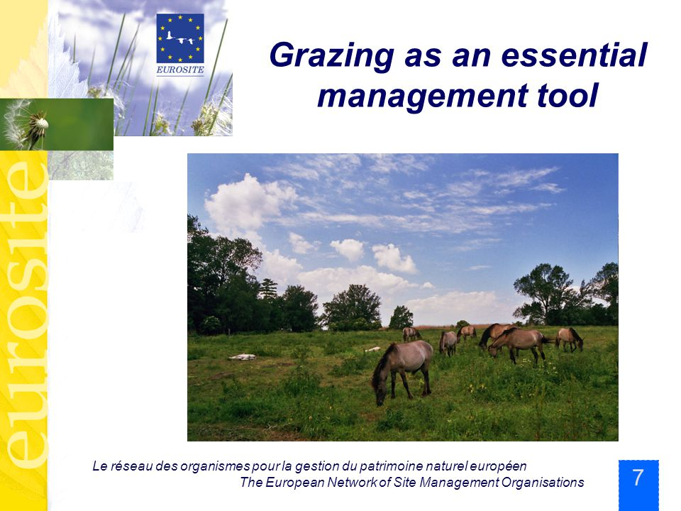 7 Le réseau des organismes pour la gestion du patrimoine naturel européen The European Network of Site Management Organisations Grazing as an essential management tool