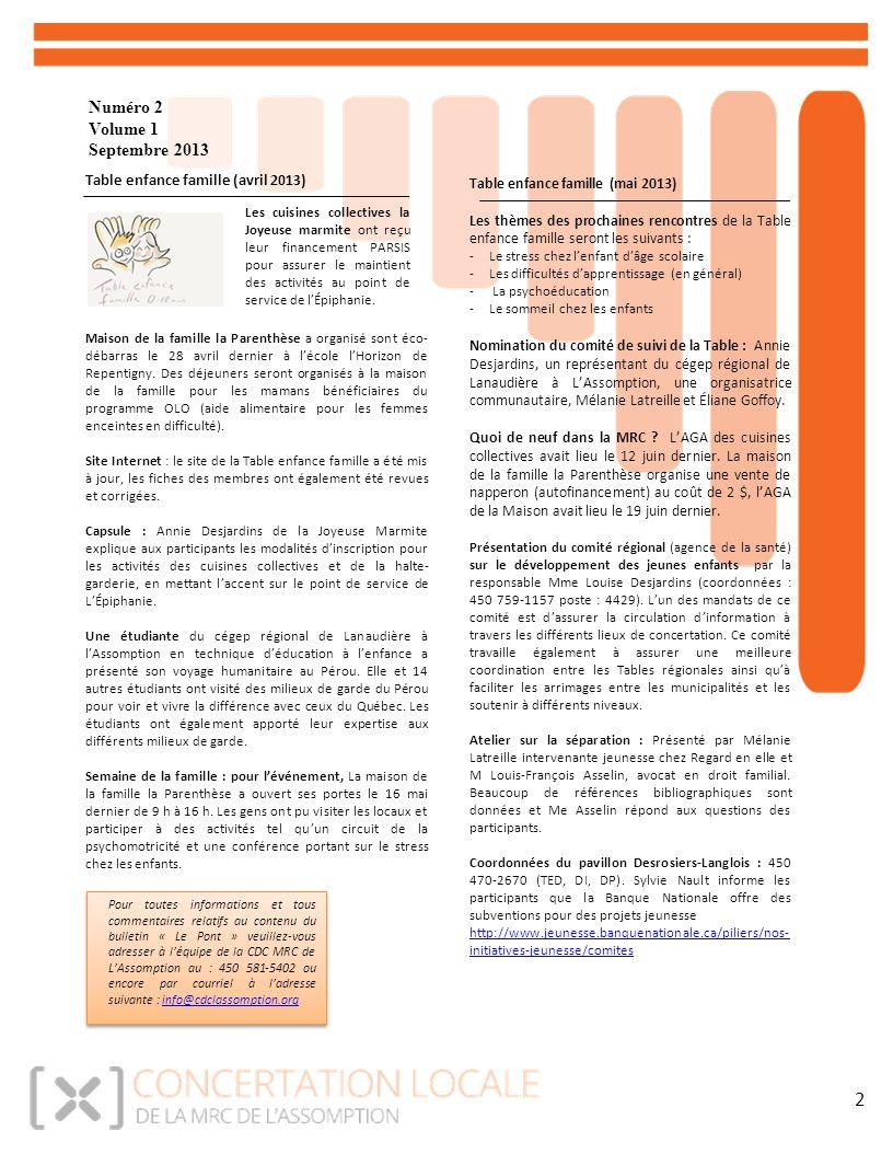 Numéro 2 Volume 1 Septembre 2013 2 Table enfance famille (avril 2013) Maison de la famille la Parenthèse a organisé sont éco- débarras le 28 avril dernier à l'école l'Horizon de Repentigny.