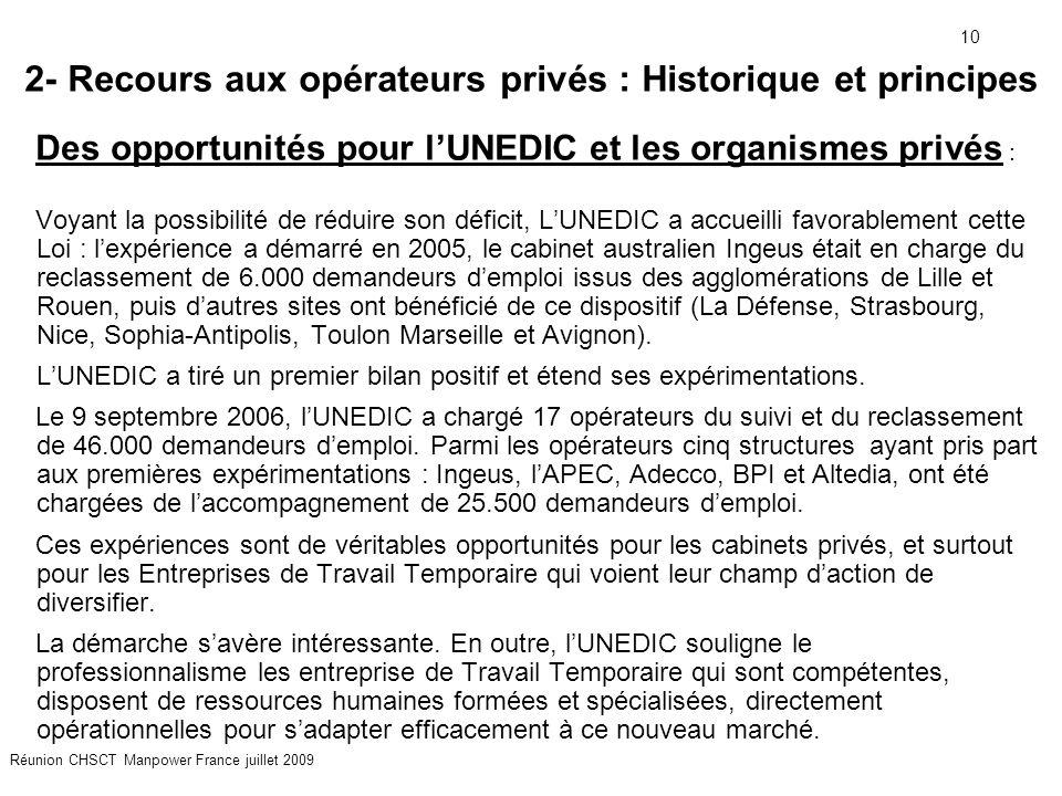 10 Réunion CHSCT Manpower France juillet 2009 2- Recours aux opérateurs privés : Historique et principes Des opportunités pour l'UNEDIC et les organis