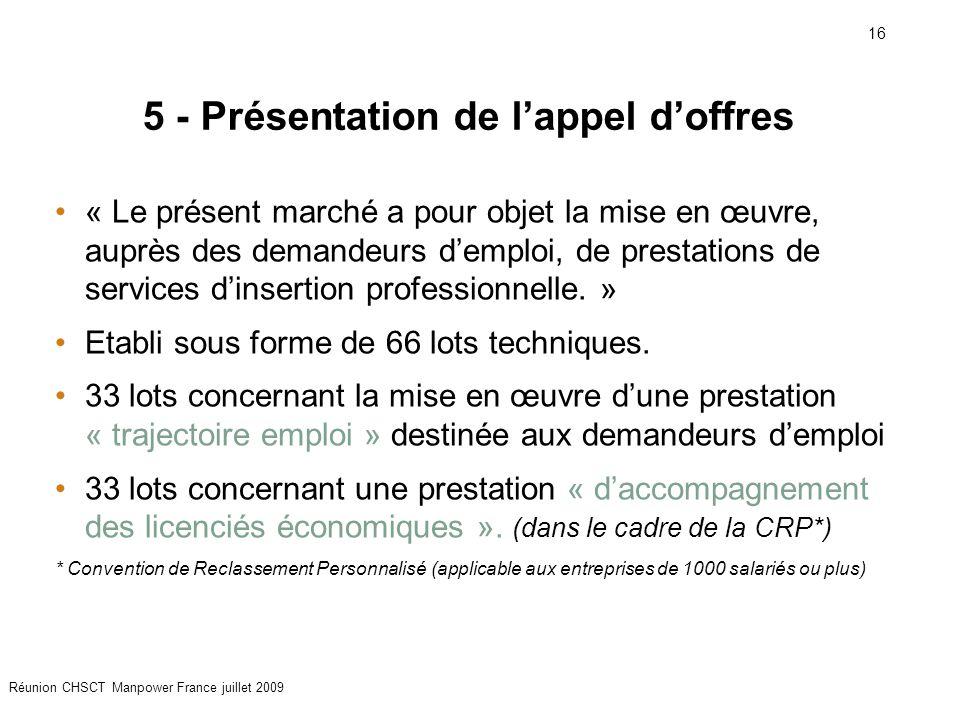 16 Réunion CHSCT Manpower France juillet 2009 5 - Présentation de l'appel d'offres « Le présent marché a pour objet la mise en œuvre, auprès des deman