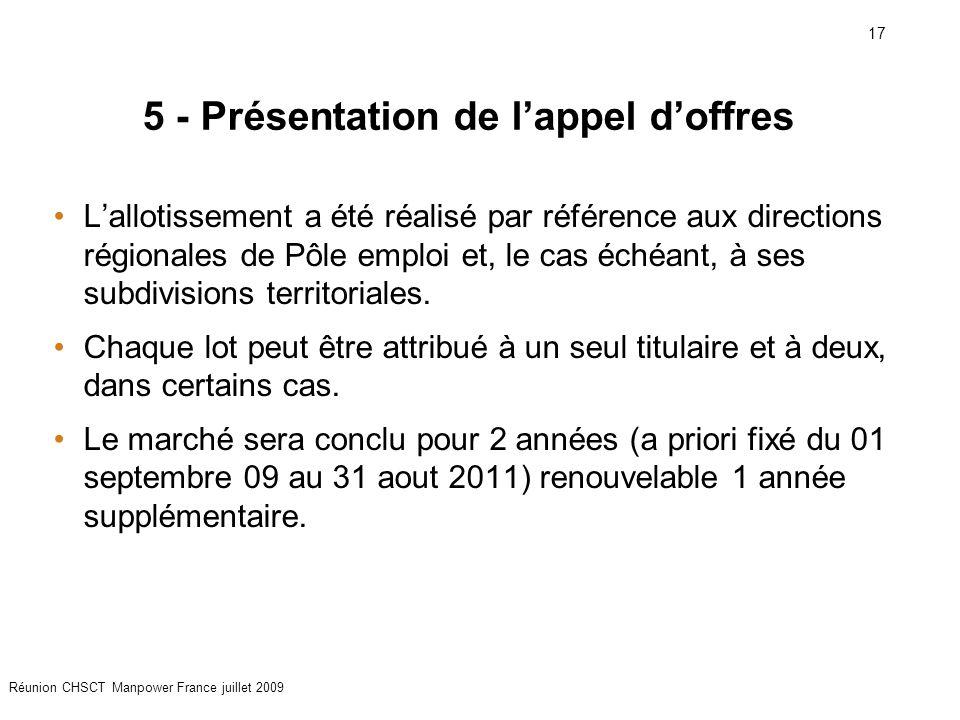 17 Réunion CHSCT Manpower France juillet 2009 5 - Présentation de l'appel d'offres L'allotissement a été réalisé par référence aux directions régional