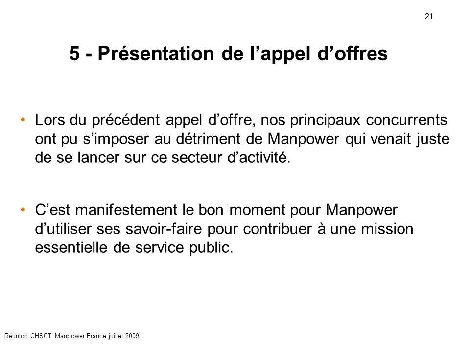 21 Réunion CHSCT Manpower France juillet 2009 5 - Présentation de l'appel d'offres Lors du précédent appel d'offre, nos principaux concurrents ont pu s'imposer au détriment de Manpower qui venait juste de se lancer sur ce secteur d'activité.