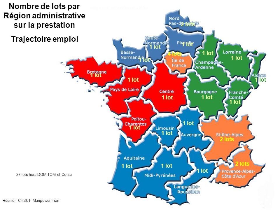 22 Réunion CHSCT Manpower France juillet 2009 1 lot 2 lots 1 lot 2 lots 4 lots Nombre de lots par Région administrative sur la prestation Trajectoire