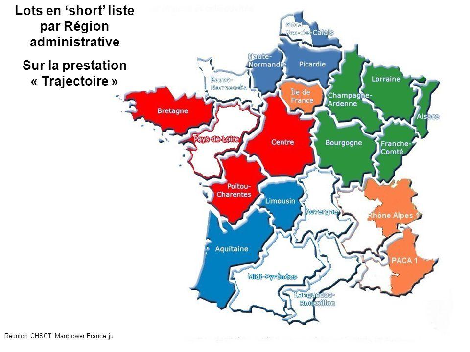23 Réunion CHSCT Manpower France juillet 2009 Lots en 'short' liste par Région administrative Sur la prestation « Trajectoire »