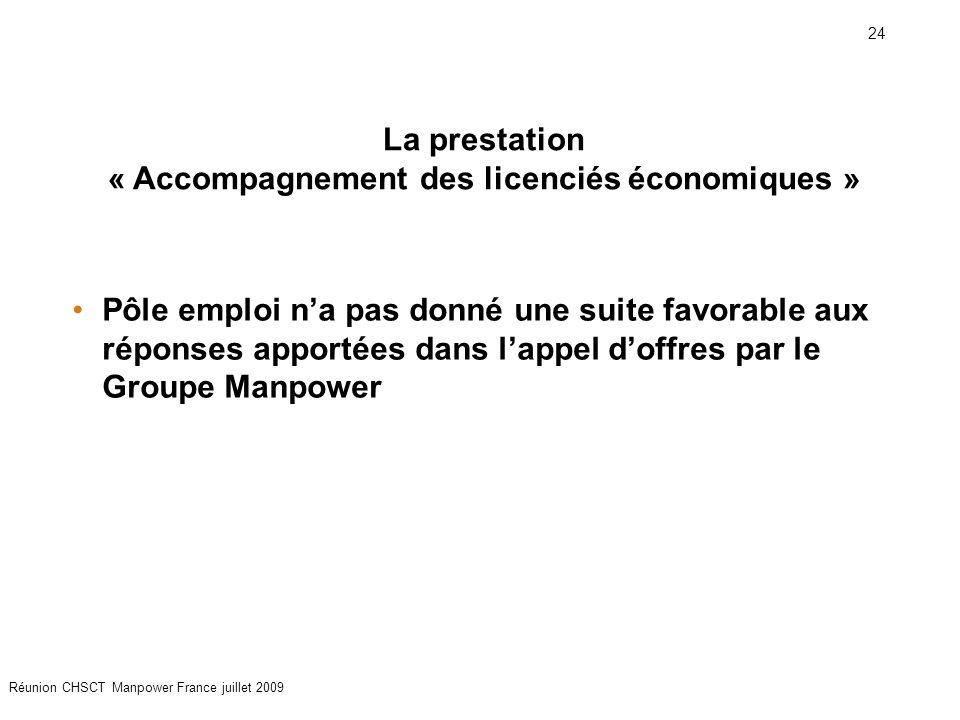 24 Réunion CHSCT Manpower France juillet 2009 Pôle emploi n'a pas donné une suite favorable aux réponses apportées dans l'appel d'offres par le Groupe