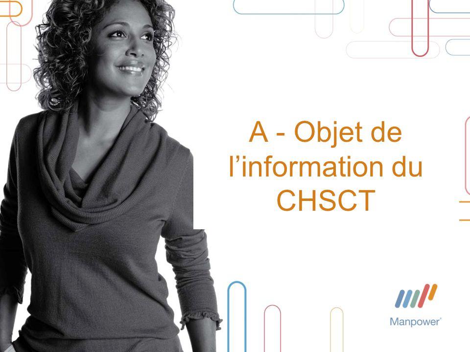 A - Objet de l'information du CHSCT