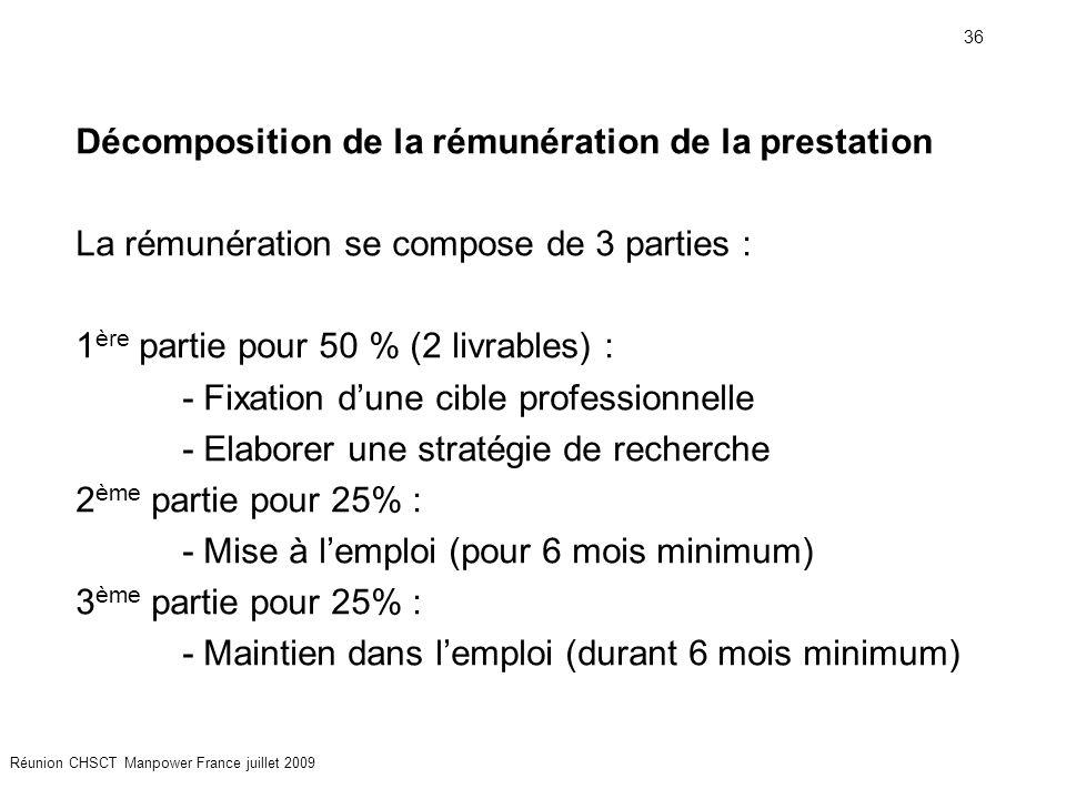 36 Réunion CHSCT Manpower France juillet 2009 Décomposition de la rémunération de la prestation La rémunération se compose de 3 parties : 1 ère partie