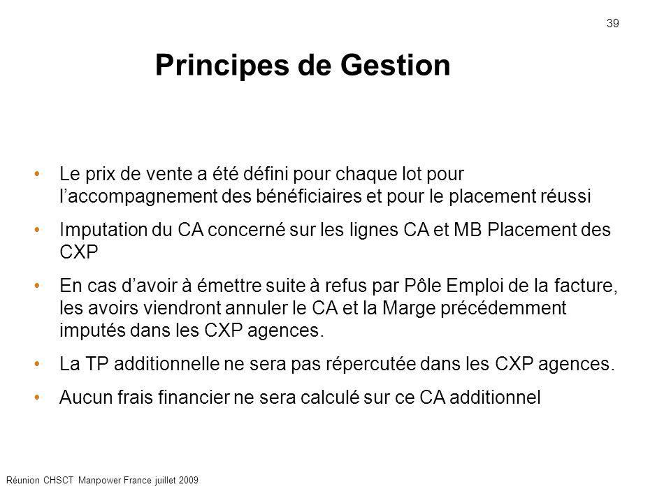 39 Réunion CHSCT Manpower France juillet 2009 Le prix de vente a été défini pour chaque lot pour l'accompagnement des bénéficiaires et pour le placeme