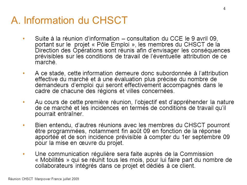 4 Réunion CHSCT Manpower France juillet 2009 A. Information du CHSCT Suite à la réunion d'information – consultation du CCE le 9 avril 09, portant sur
