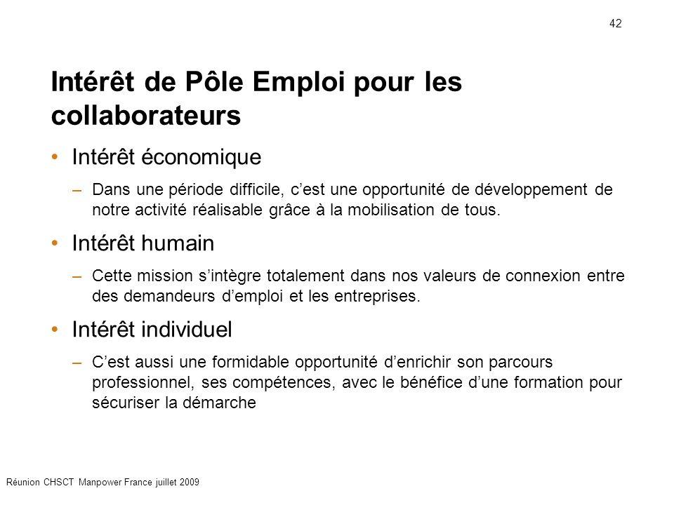 42 Réunion CHSCT Manpower France juillet 2009 Intérêt de Pôle Emploi pour les collaborateurs Intérêt économique –Dans une période difficile, c'est une opportunité de développement de notre activité réalisable grâce à la mobilisation de tous.