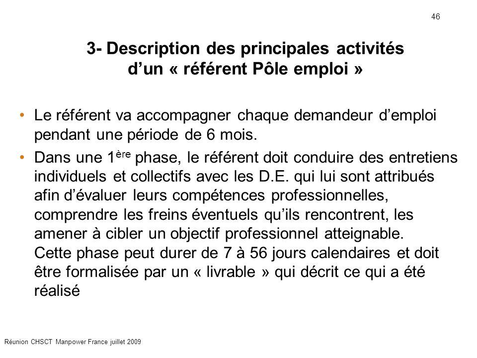 46 Réunion CHSCT Manpower France juillet 2009 Le référent va accompagner chaque demandeur d'emploi pendant une période de 6 mois. Dans une 1 ère phase