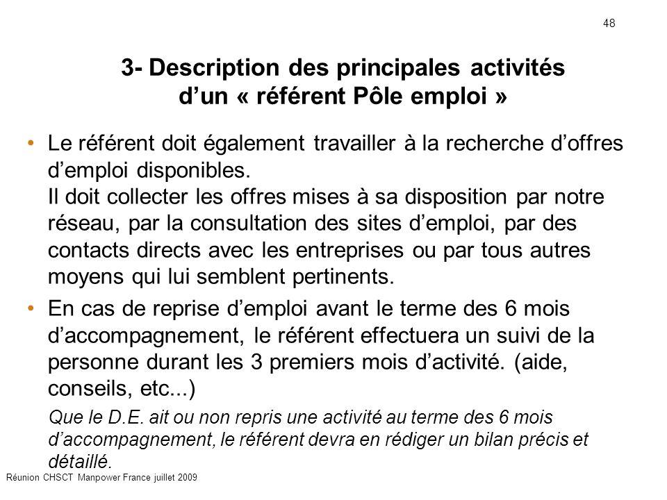 48 Réunion CHSCT Manpower France juillet 2009 Le référent doit également travailler à la recherche d'offres d'emploi disponibles. Il doit collecter le