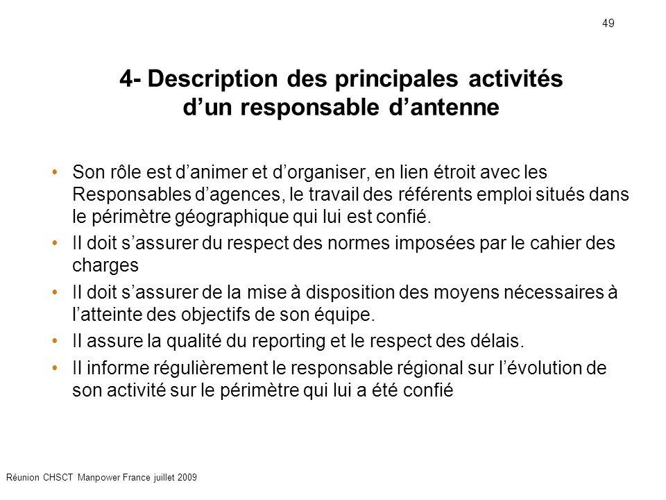 49 Réunion CHSCT Manpower France juillet 2009 4- Description des principales activités d'un responsable d'antenne Son rôle est d'animer et d'organiser, en lien étroit avec les Responsables d'agences, le travail des référents emploi situés dans le périmètre géographique qui lui est confié.