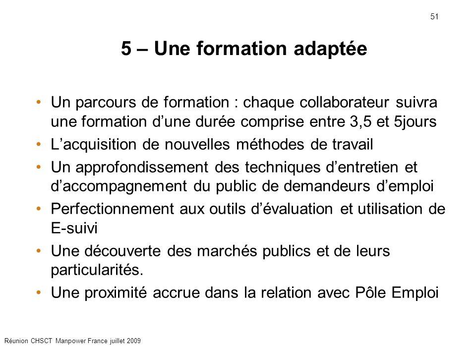 51 Réunion CHSCT Manpower France juillet 2009 5 – Une formation adaptée Un parcours de formation : chaque collaborateur suivra une formation d'une dur