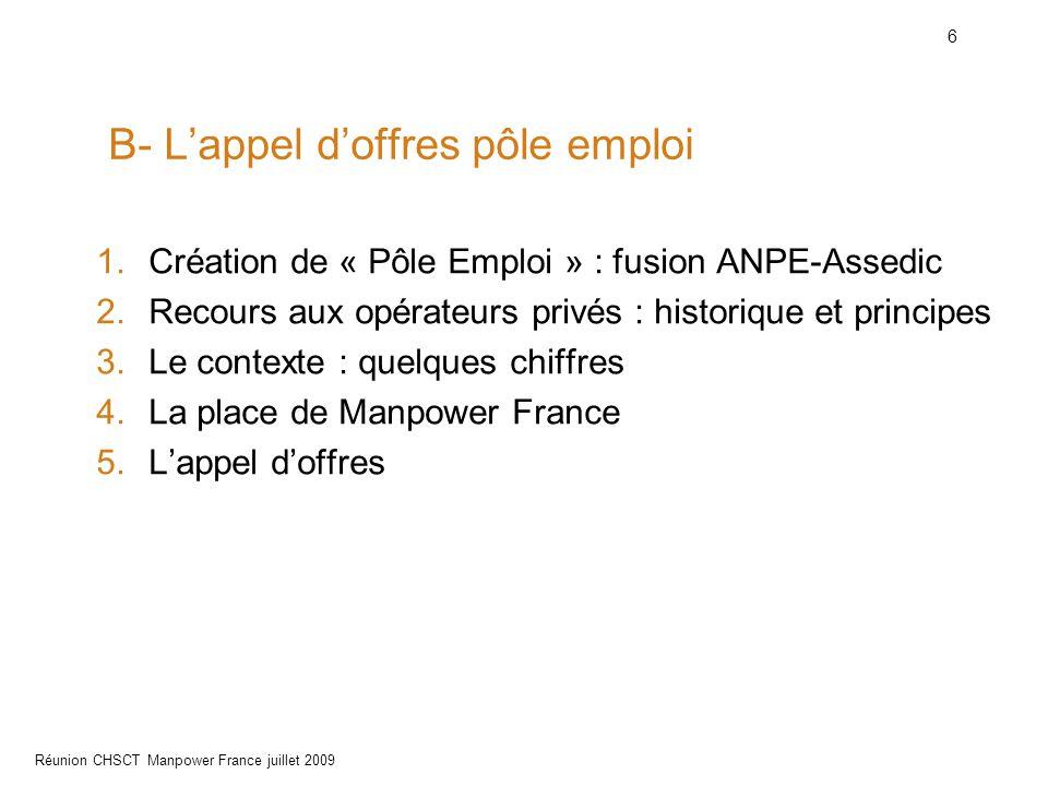 6 Réunion CHSCT Manpower France juillet 2009 B- L'appel d'offres pôle emploi 1.Création de « Pôle Emploi » : fusion ANPE-Assedic 2.Recours aux opérate