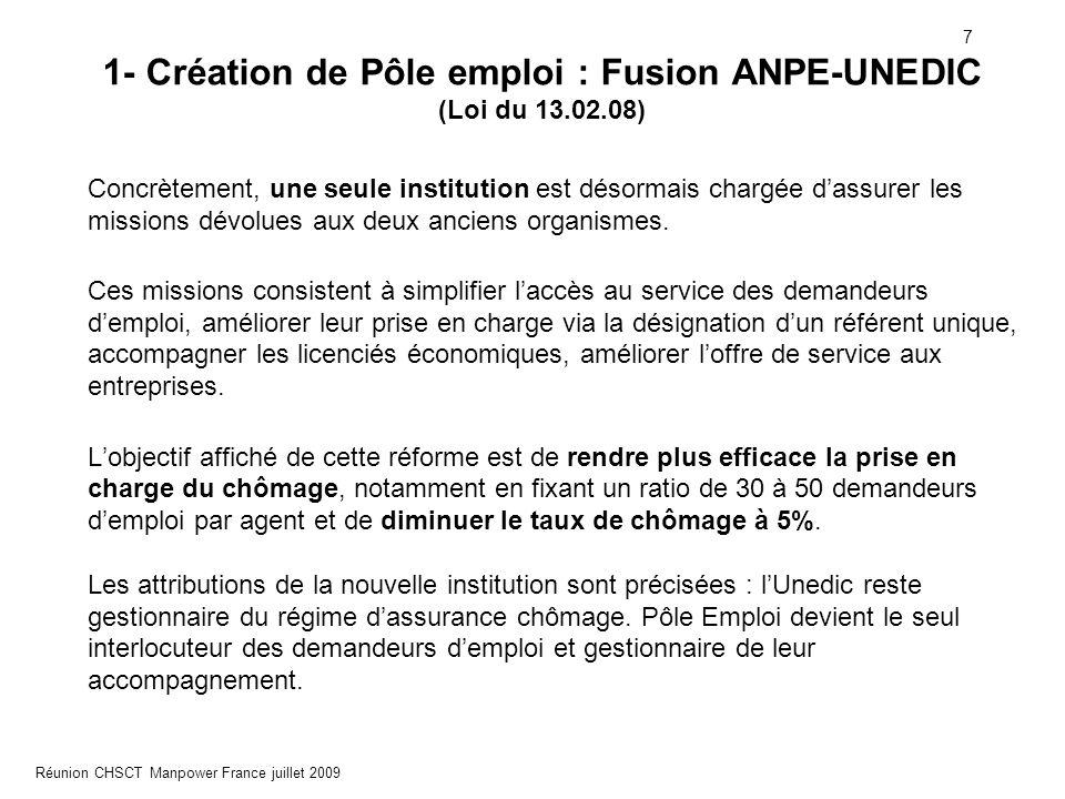8 Réunion CHSCT Manpower France juillet 2009 1- Création de Pôle emploi : Fusion ANPE-UNEDIC La loi prévoit également le remplacement du Comité supérieur pour l'emploi par le Conseil national de l'emploi.