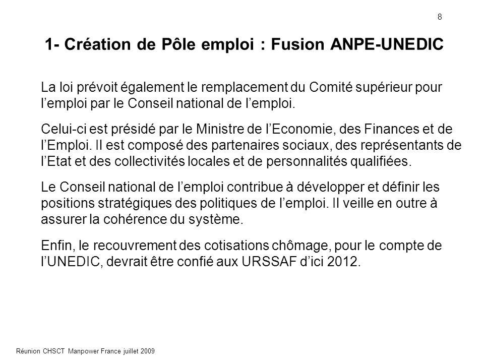 8 Réunion CHSCT Manpower France juillet 2009 1- Création de Pôle emploi : Fusion ANPE-UNEDIC La loi prévoit également le remplacement du Comité supéri