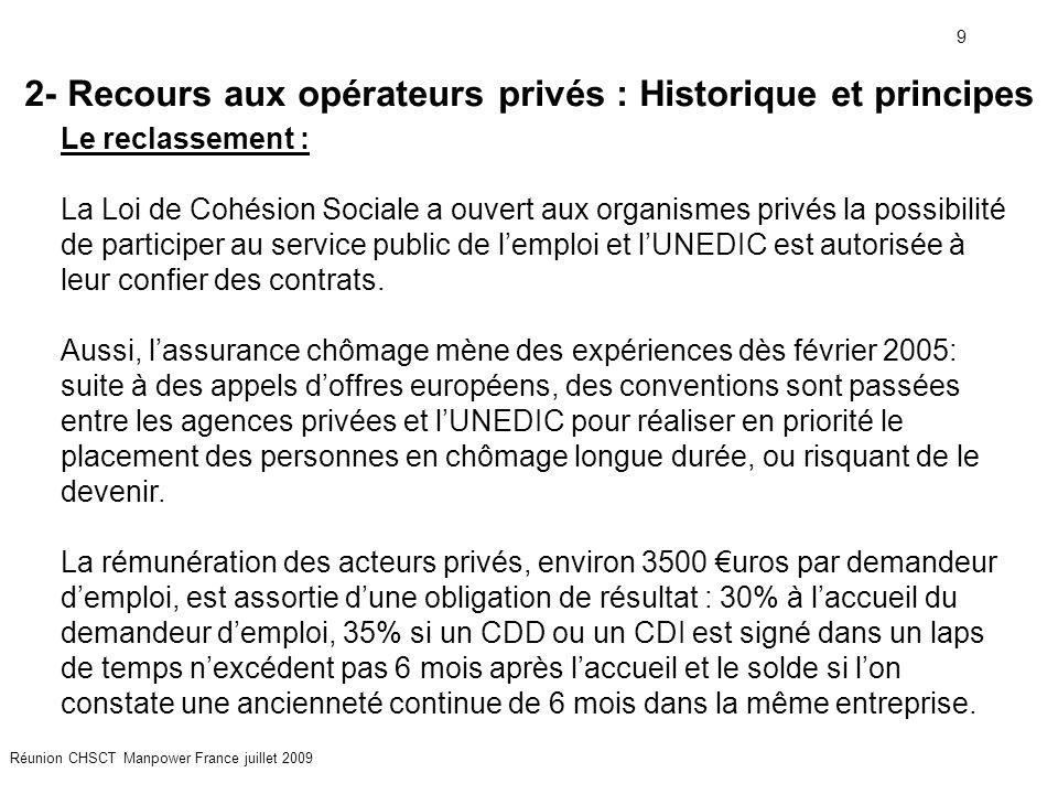 9 Réunion CHSCT Manpower France juillet 2009 2- Recours aux opérateurs privés : Historique et principes Le reclassement : La Loi de Cohésion Sociale a