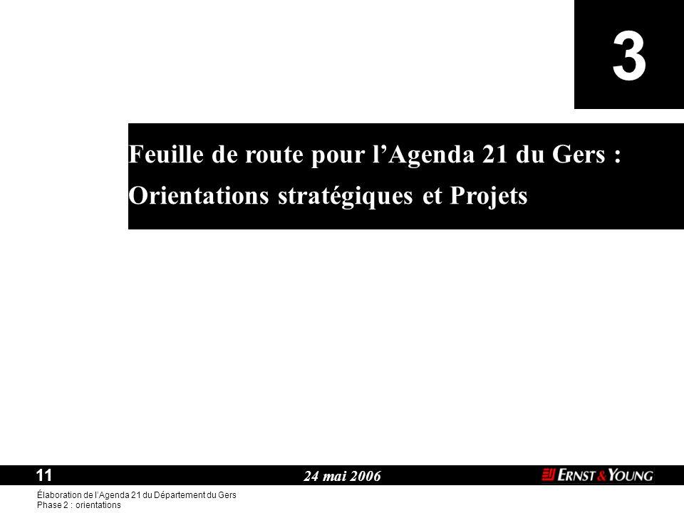 24 mai 2006 11 Élaboration de l'Agenda 21 du Département du Gers Phase 2 : orientations Thème : Feuille de route pour l'Agenda 21 du Gers : Orientations stratégiques et Projets 3
