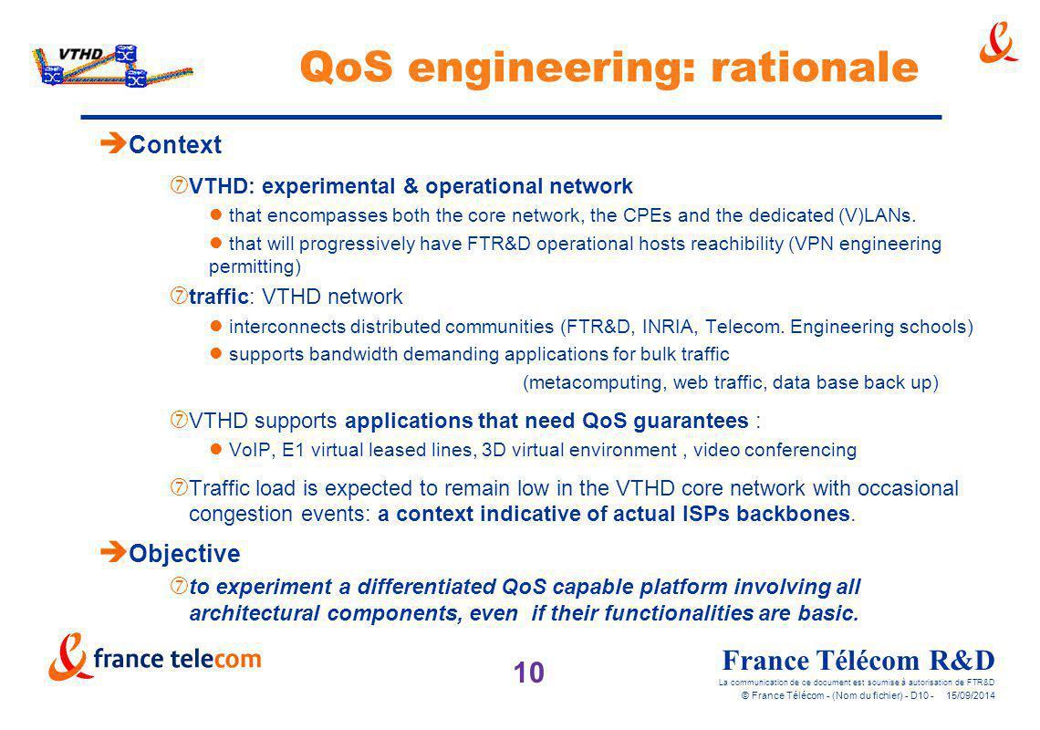 10 France Télécom R&D La communication de ce document est soumise à autorisation de FTR&D © France Télécom - (Nom du fichier) - D10 - 15/09/2014 QoS e