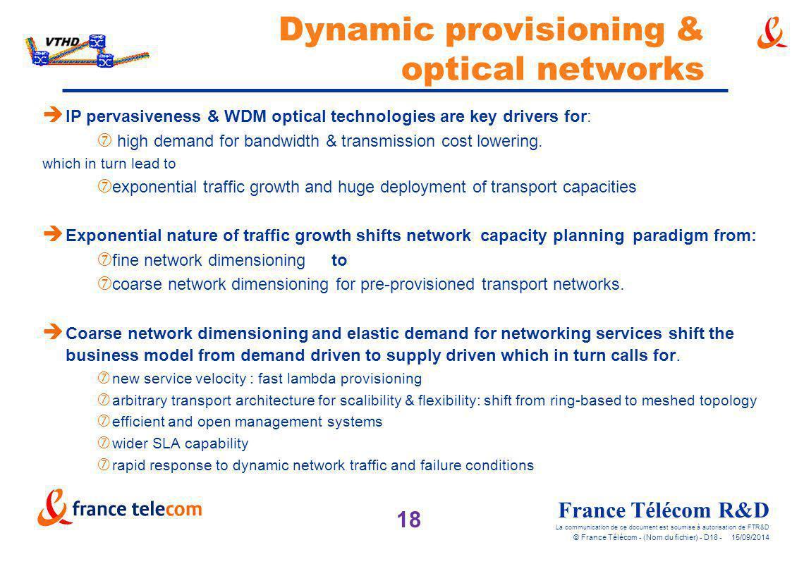 18 France Télécom R&D La communication de ce document est soumise à autorisation de FTR&D © France Télécom - (Nom du fichier) - D18 - 15/09/2014 Dynam