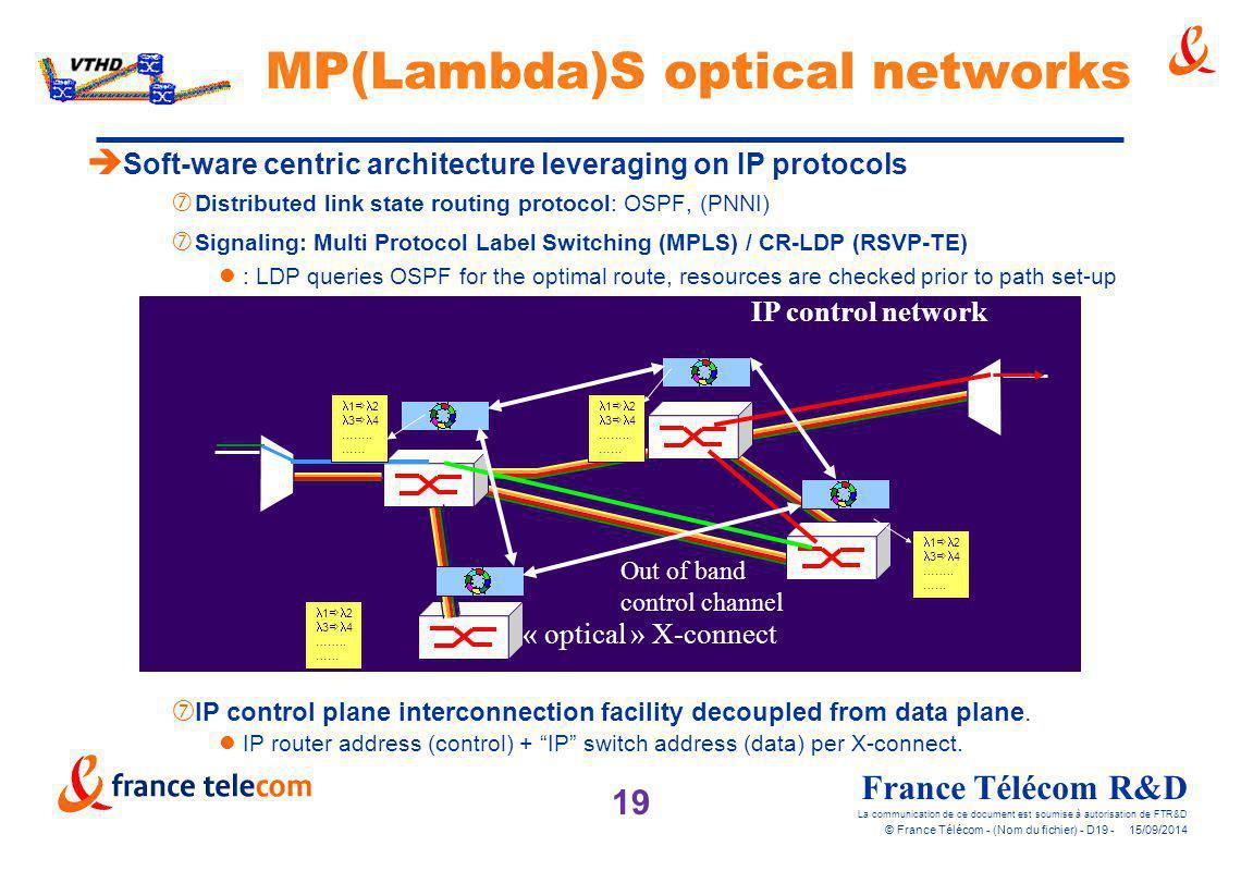 19 France Télécom R&D La communication de ce document est soumise à autorisation de FTR&D © France Télécom - (Nom du fichier) - D19 - 15/09/2014 MP(La