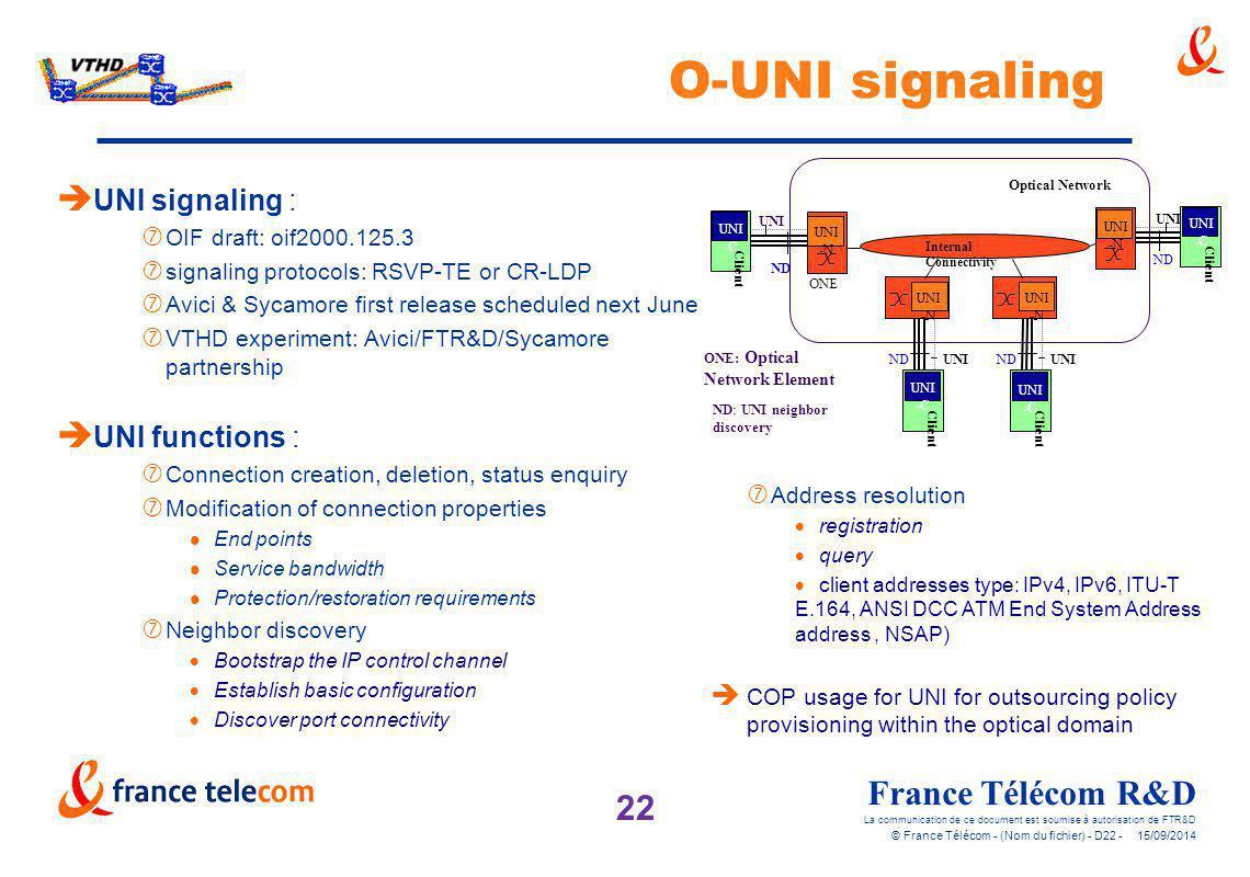 22 France Télécom R&D La communication de ce document est soumise à autorisation de FTR&D © France Télécom - (Nom du fichier) - D22 - 15/09/2014 O-UNI