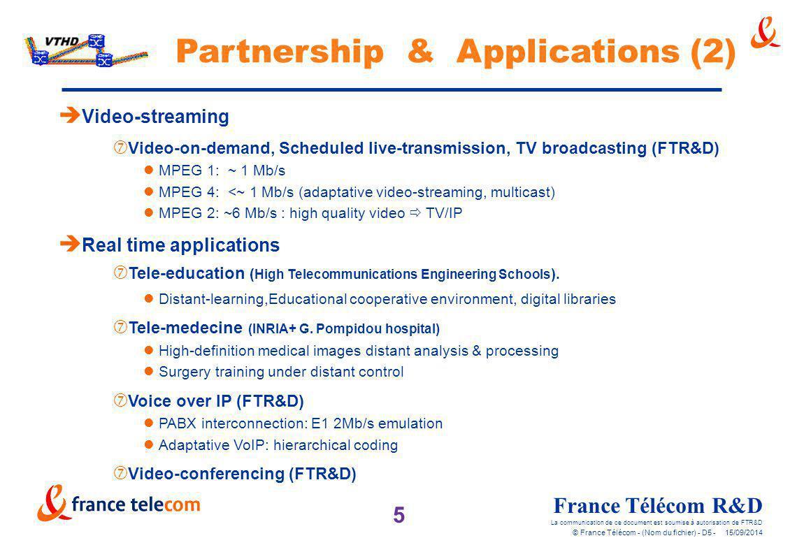 5 France Télécom R&D La communication de ce document est soumise à autorisation de FTR&D © France Télécom - (Nom du fichier) - D5 - 15/09/2014 è Real