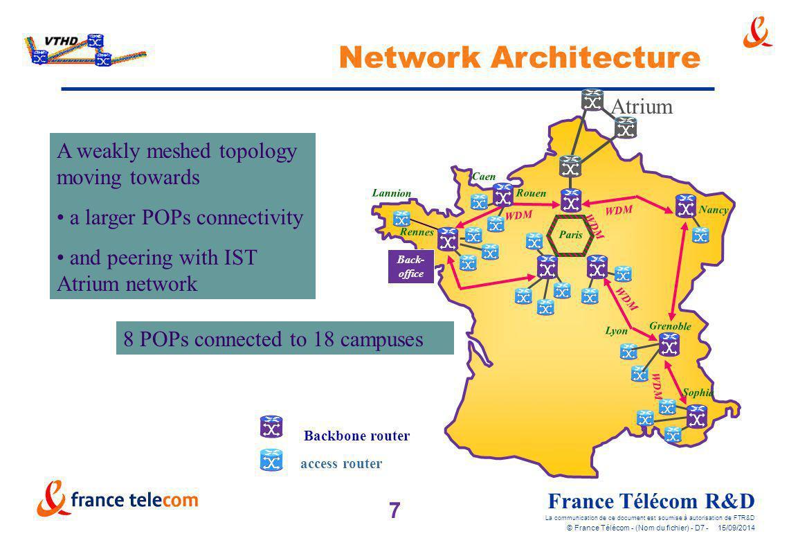 7 France Télécom R&D La communication de ce document est soumise à autorisation de FTR&D © France Télécom - (Nom du fichier) - D7 - 15/09/2014 Network