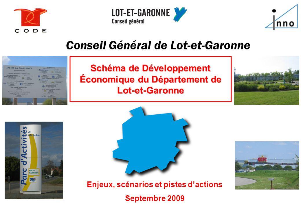 1111 Conseil Général de Lot-et-Garonne Enjeux, scénarios et pistes d'actions Septembre 2009 Schéma de Développement Économique du Département de Lot-e