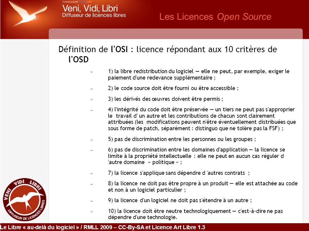 Le Libre « au-delà du logiciel » / RMLL 2009 – CC-By-SA et Licence Art Libre 1.3 L Open Cloud Computing .